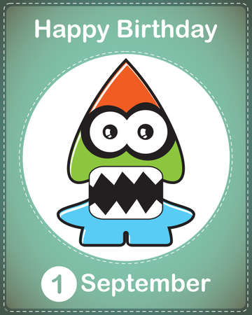 Happy birthday card with cute cartoon monster Stock Vector - 17978067
