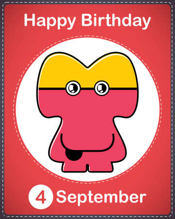 Happy birthday card with cute cartoon monster Stock Vector - 17978009