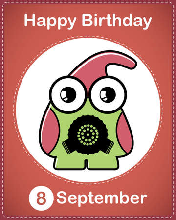 Happy birthday card with cute cartoon monster Stock Vector - 17978150