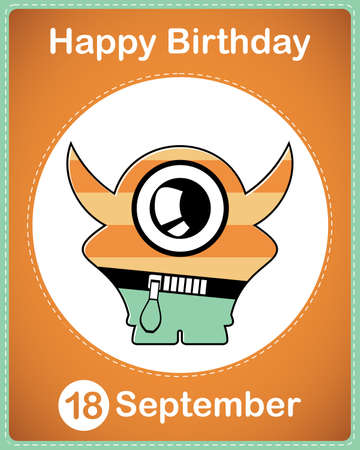 Happy birthday card with cute cartoon monster Stock Vector - 17978128