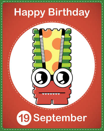 Happy birthday card with cute cartoon monster Stock Vector - 17978259