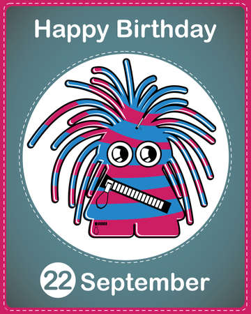 Happy birthday card with cute cartoon monster Stock Vector - 17978288