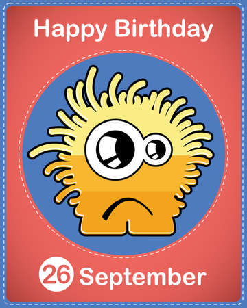 Happy birthday card with cute cartoon monster Stock Vector - 17978299