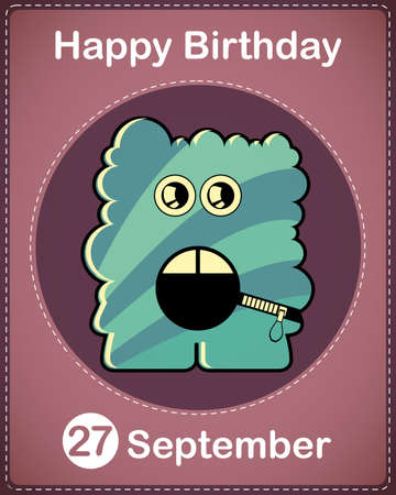 Happy birthday card with cute cartoon monster Stock Vector - 17978333