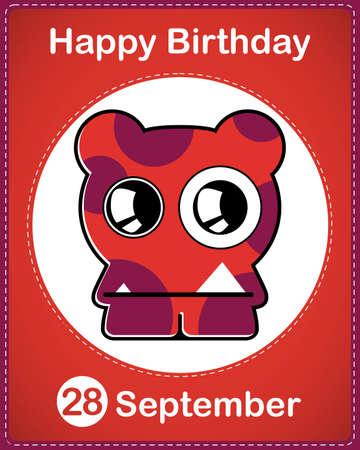 Happy birthday card with cute cartoon monster Stock Vector - 17978153