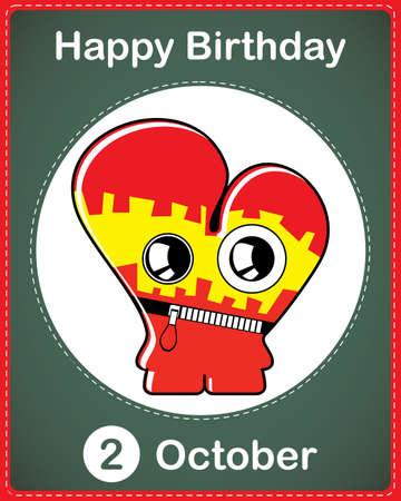 Happy birthday card with cute cartoon monster Stock Vector - 17978130