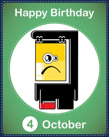 Happy birthday card with cute cartoon monster Stock Vector - 17978064