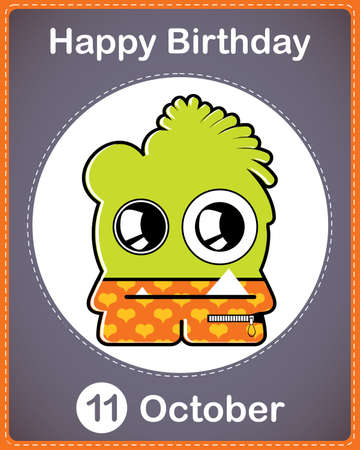 Happy birthday card with cute cartoon monster Stock Vector - 17978210