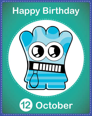 Happy birthday card with cute cartoon monster Stock Vector - 17978185