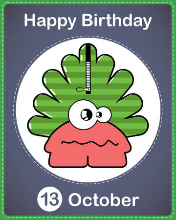 Happy birthday card with cute cartoon monster Stock Vector - 17978184
