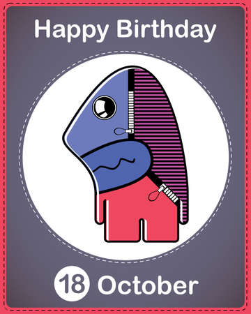 Happy birthday card with cute cartoon monster Stock Vector - 17978180