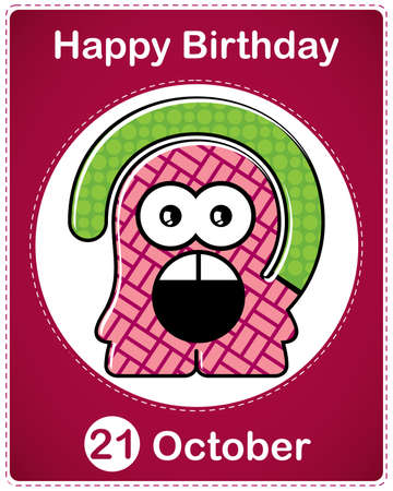 Happy birthday card with cute cartoon monster Stock Vector - 17978281