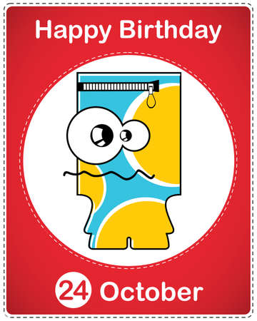 Happy birthday card with cute cartoon monster Stock Vector - 17978164