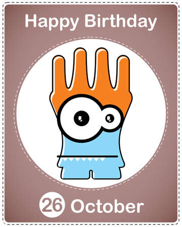 Happy birthday card with cute cartoon monster Stock Vector - 17978121