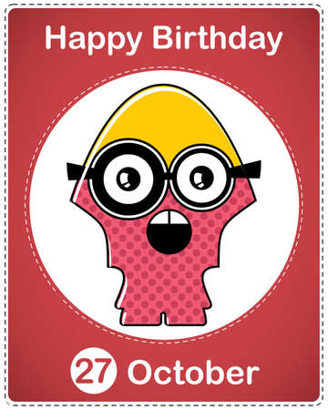 Happy birthday card with cute cartoon monster Stock Vector - 17978360