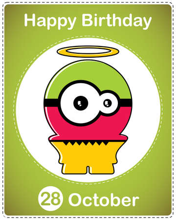 Happy birthday card with cute cartoon monster Stock Vector - 17978124