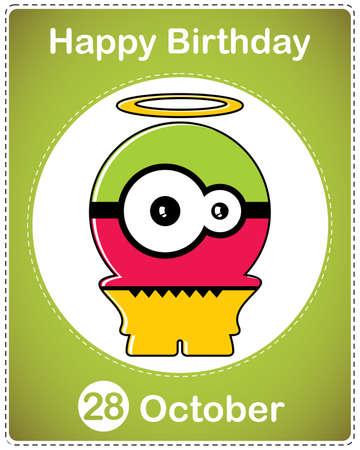 Happy birthday card with cute cartoon monster Stock Vector - 17978124