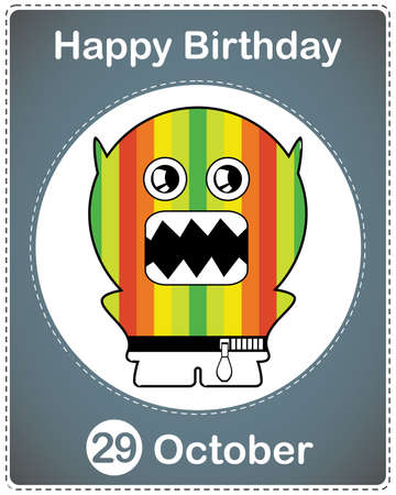 Happy birthday card with cute cartoon monster Stock Vector - 17978208