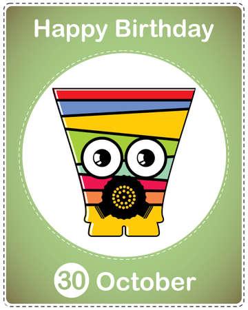 Happy birthday card with cute cartoon monster Stock Vector - 17978202