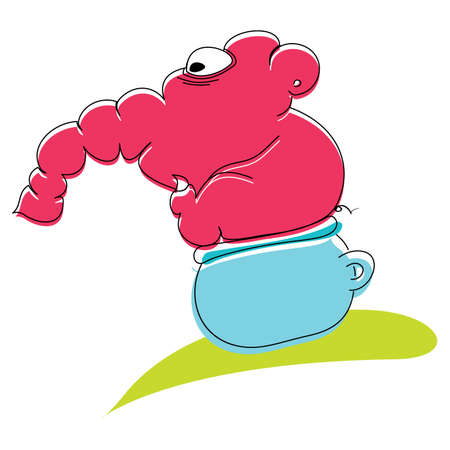 Cute cartoon elephant sitting on the toilet pot Vector