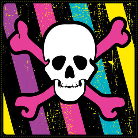 mort: skull on color grunge background