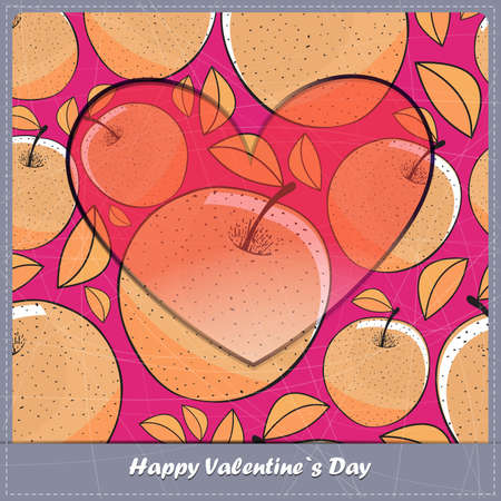 Valentine day card with Apple Vector