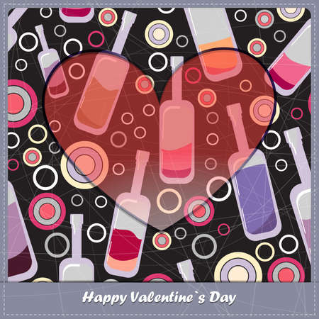 Valentine day card with bottles Vector
