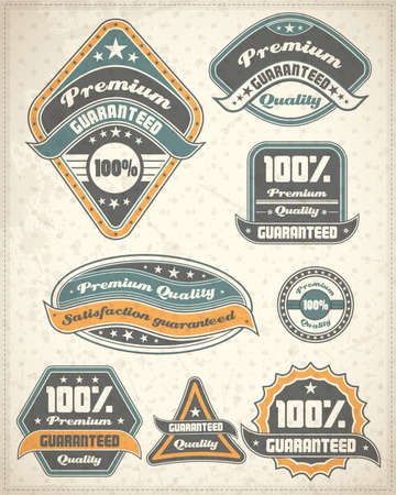 Premium quality and guarantee label collection on old paper Vector