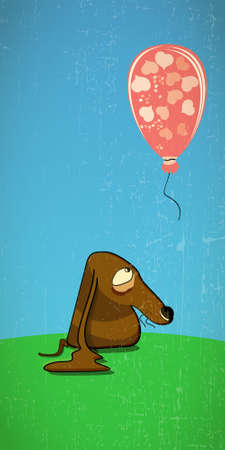 Sad dog looking at a balloon. Vector