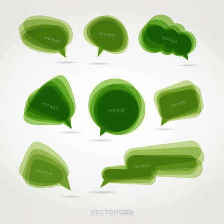Set of eight green chat bubbles Vector