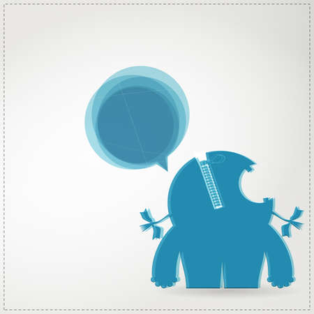 Monster with chat bubble Stock Vector - 19648576