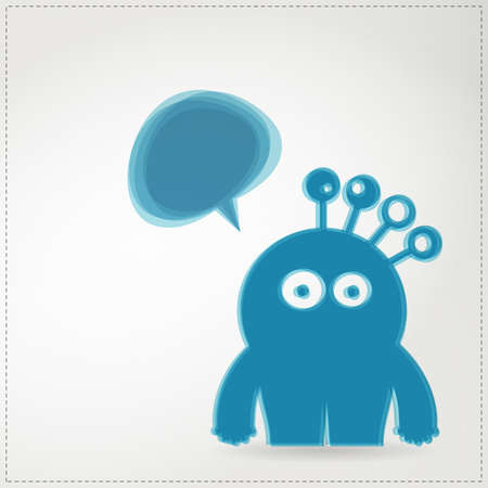 Monster with chat bubble Stock Vector - 19649072