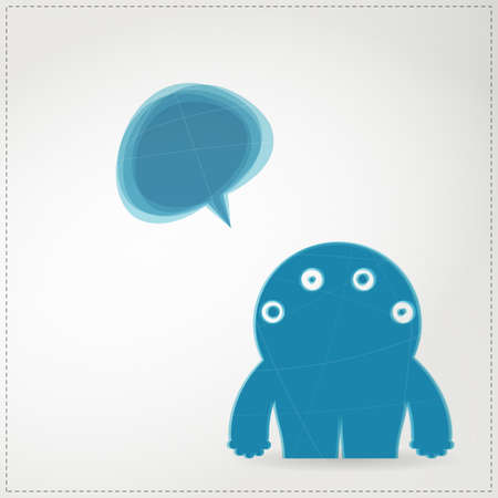 Monster with chat bubble Stock Vector - 19648581