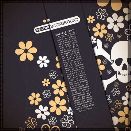 mort: Background with skull and flowers