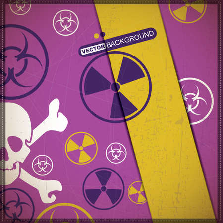 Background with skull and radiation, biohazard symbol Vector