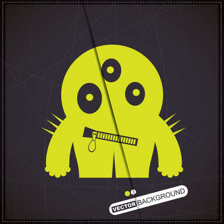 Monster on old brick wall Stock Vector - 19826453