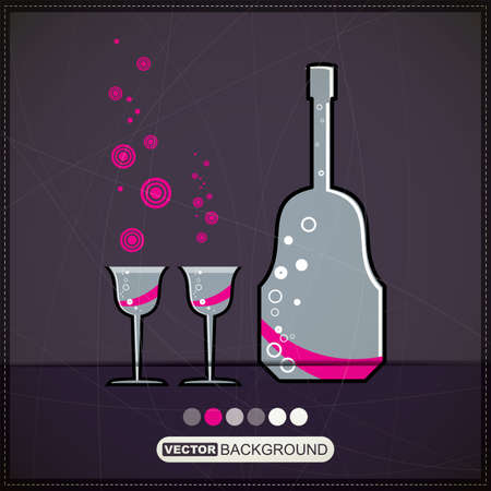 Bottle with glasses Stock Vector - 19826470