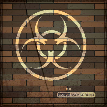warning against a white background: Background with biohazard symbol on brick wall Illustration