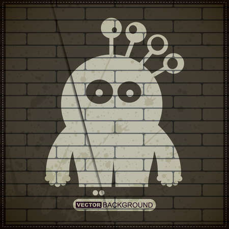 Monster on old brick wall Stock Vector - 19826503
