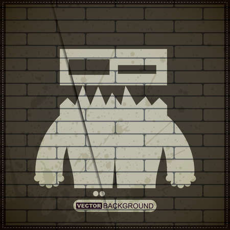 old brick wall: Monster on old brick wall