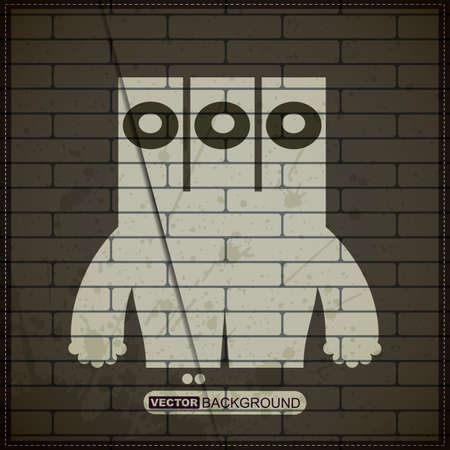 Monster on old brick wall Stock Vector - 19826501