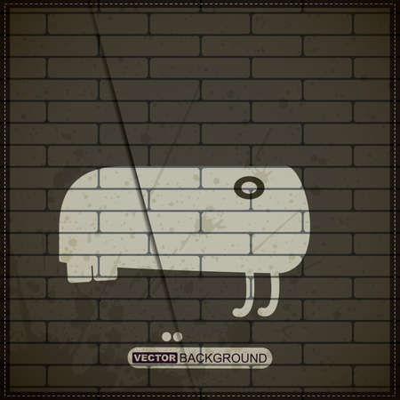 Monster on old brick wall Stock Vector - 19826476