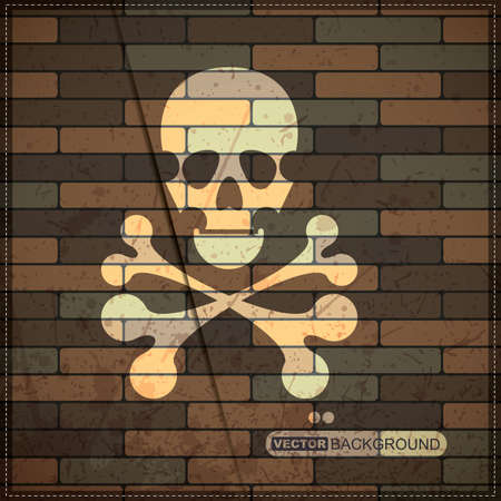 mort: Background with skull on brick wall Illustration