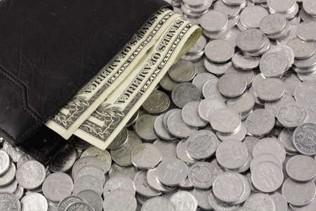 Purse with money and coins photo