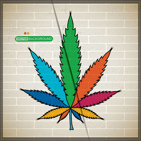 Grunge background with cannabis leaf on brick wall Stock Vector - 20184462