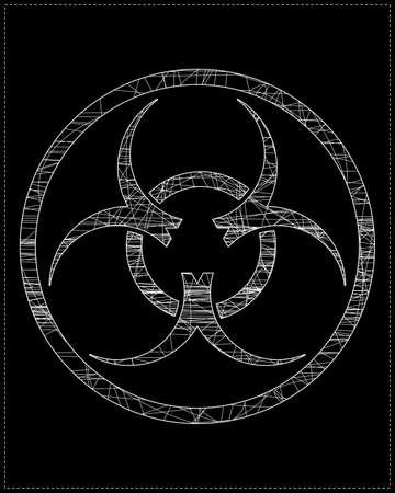 warning against a white background: White biohazard symbol Illustration