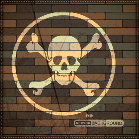 Background with skull on brick wall Vector