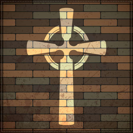 cross on brick wall Vector