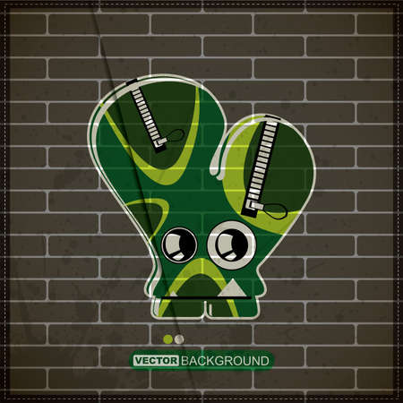 Monster on old brick wall Stock Vector - 20184458