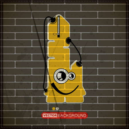 Monster on old brick wall Stock Vector - 20184529
